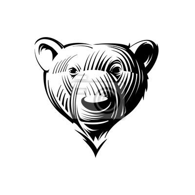 Szef bear, ilustracji stylu grawerowanie