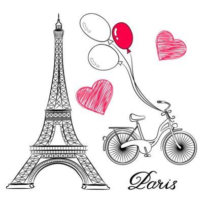 Plakat szkic Paryżu, Wieża Eiffla i rower z balonów na ogrzane powietrze. ilustracji wektorowych
