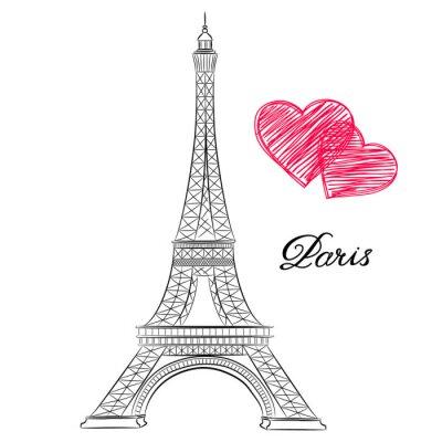 Plakat szkic Paryżu, Wieża Eiffla z serca. ilustracji wektorowych