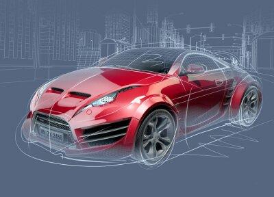 Plakat Szkic samochód sportowy. Oryginalny design samochodu.