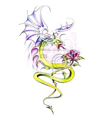 Szkic Tatuaż Sztuki Smok I Róża Plakaty Redro