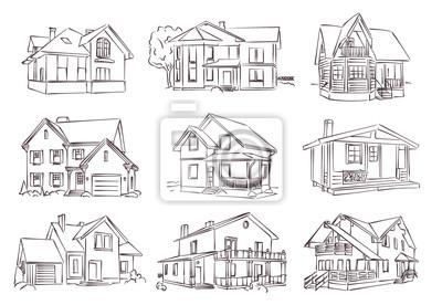 Plakat szkic wektor drewniany dom