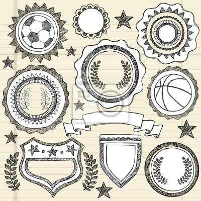 Plakat Szkicowe Sport Grafika Odznaki Emblem Doodle