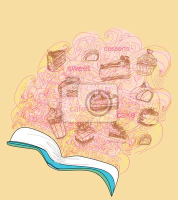 Plakat Szkicowy doodle z książki kucharskiej, deserowe składników
