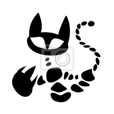 Szkielet Kota Kot Tatuaż Czarny Ikona Symbol Siluet Plakaty Redro