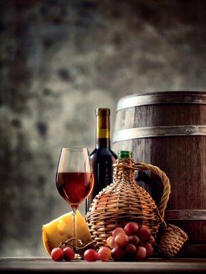 Plakat Szkło, butelki, karafki wina i beczki