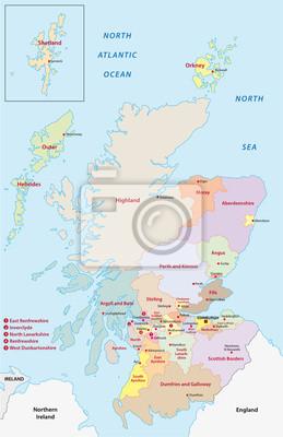 Plakat Szkocja mapa administracyjna na wymiar • graficzny ...