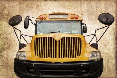 Plakat Szkolny autobus américain, de styl vintage, twarz