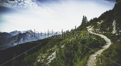 Plakat Szlak turystyczny przez zalesione szczyty alpejskie w letnim słońcu z widokiem odległych szczytów i pasm w malowniczym austriackim krajobrazie