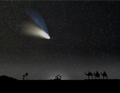 Plakat Szopka z trzech mędrców i komety Narodzenia.