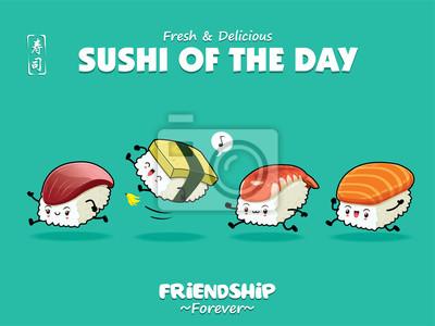 Sztuka japońska plakat jedzenie projekt wektor Sake, Tamago, Ebi, Hokkigai, znaki sushi. Chińskie słowo oznacza sushi.