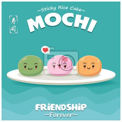 Sztuka japońska plakat jedzenie z postaciami Mochi ryżu ciasto. Chińskie słowo oznacza sushi.