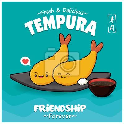 Sztuka japońska plakat jedzenie z wektor znaków tempura. Chińskie słowo oznacza sushi.