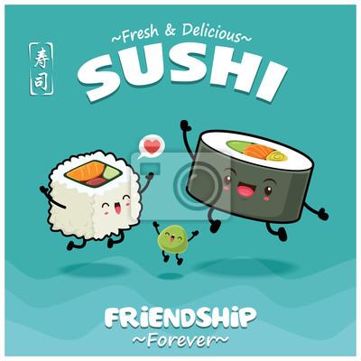 Sztuka japońska plakat jedzenie z wektora Futomaki sushi i wasabi znaków. Chińskie słowo oznacza sushi.