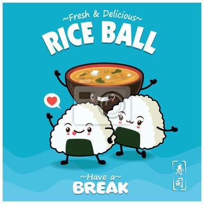 Sztuka japońska plakat projekt z kulkami ryżu wektor i zupy miso. Chińskie słowo oznacza sushi.