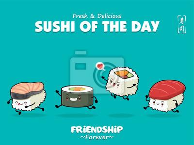 Sztuka japońska plakat projekt z Saba, Futomaki, Maguro, znaki sushi. Chińskie słowo oznacza sushi.