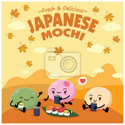 Sztuka japońska plakat projekt żywności z mochi, Ebi, Sake, Maguro, znaków sushi Hokkigai.