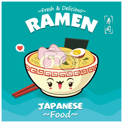 Sztuka japońska plakat projekt żywności z ramen wektor znaków. Chińskie słowo oznacza sushi.