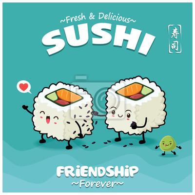 Sztuka japoński plakat jedzenie z wektor znaków futomaki sushi. Chińskie słowo oznacza sushi.