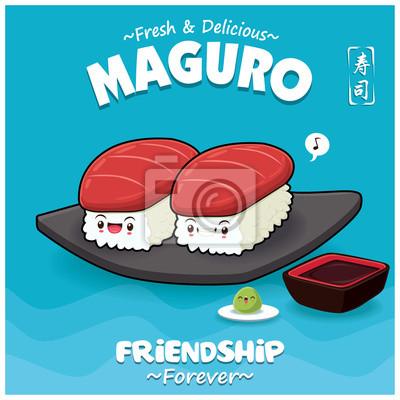 Sztuka japoński plakat jedzenie z wektor znaków maguro sushi. Chińskie słowo oznacza sushi.