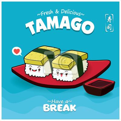 Sztuka japoński plakat jedzenie z wektor znaków sushi tamago. Chińskie słowo oznacza sushi.