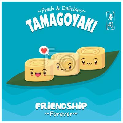 Sztuka japoński plakat jedzenie z wektor znaków sushi Tamagoyaki. Chińskie słowo oznacza sushi.