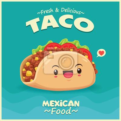 Sztuka meksykański plakat projekt wektor taco charakter.