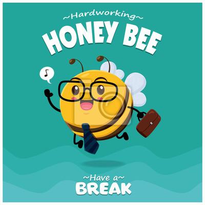 Sztuka owad plakat projekt wektor charakter pszczoły miodnej.