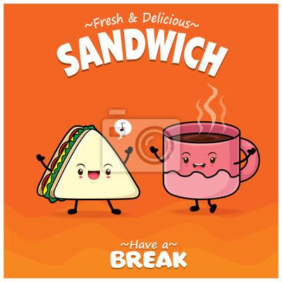 Sztuka plakat warzywny z wektor kanapka i znaki kawy.