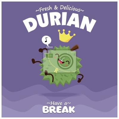 Sztuka plakatu owocowego z durian wektor znaków.