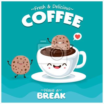 Sztuka plakatu z wektor kawy i cookie charakter.