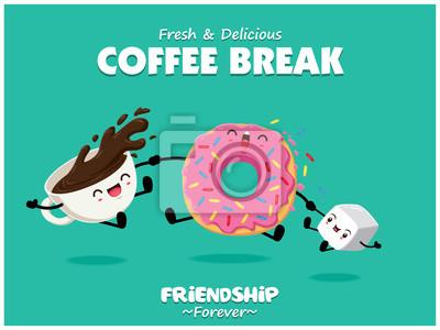 Sztuka plakatu żywności z wektor pączki, kawa, znaki cukru.
