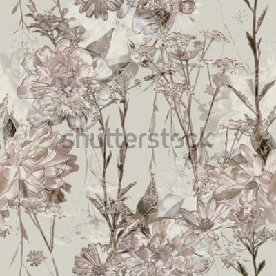 Plakat sztuka sztuka niewyraźne monochromatyczne beżowe akwarela i graficzny kwiatowy wzór z białych piwonii, róż i liści na tle. Efekt podwójnej ekspozycji