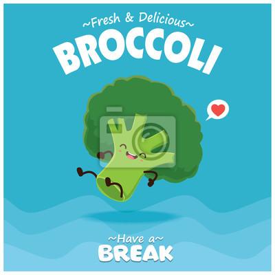 Sztuka warzyw plakat projekt z brokułami wektorowych znaków.
