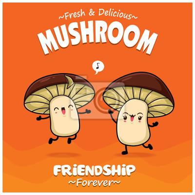 Sztuka warzyw plakat projekt z postaciami grzyb wektor.