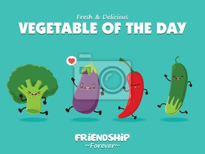 Sztuka warzyw plakat projekt z wektor brokuły, roślina jajeczna, chili, grochu znaków.