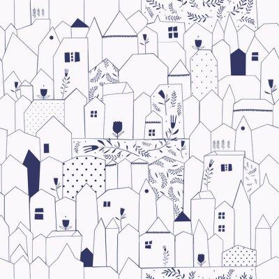 Plakat Szwu. Sylwetka miasta w stylu vintage.
