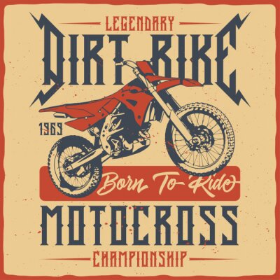 Plakat T-shirt or poster design with illustration of isolated motorcycle.