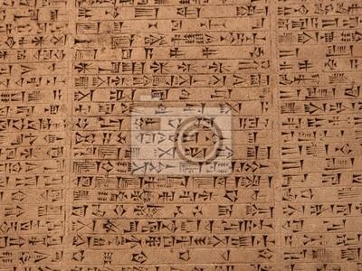 Plakat Tablet w piśmie klinowym starożytnego sumeryjskiego lub Assyri