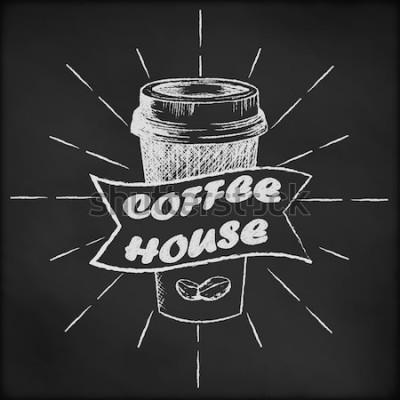 Plakat Tablica z szkic filiżanka kawy