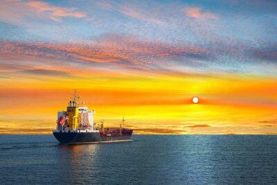 Plakat Tanker ship on calm sea in the morning.