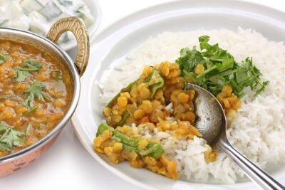 Plakat Tarka dal, czerwonej soczewicy curry, danie indyjskie