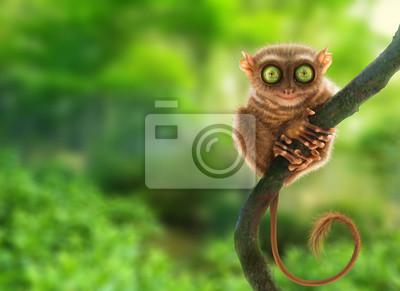 Plakat Tarsier małpa (Tarsius Syrichta) w naturalnym środowisku dżungli, Filipiny. Sztuka cyfrowa.