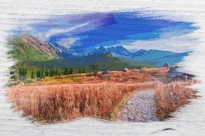 Plakat Tatra mountain in autumn, Poland, watercolor painting