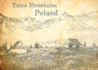 Plakat Tatra mountain in Poland, sketch on old paper