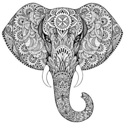Plakat Tatuaż słoń z wzorami i ozdoby