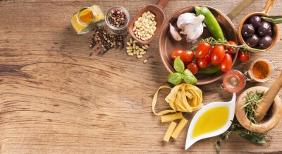 Plakat Tavola con cibo e ingredienti