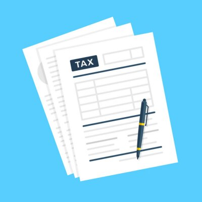 Plakat Tax form. Tax documents and pen. Taxation concepts. Vector illustration