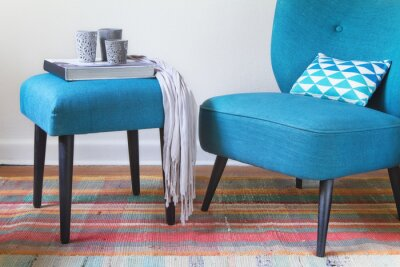Plakat Teal blue retro armchair and ottoman with decor objects home interior