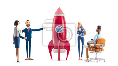 Plakat Team developing an innovative product. 3d illustration.  Cartoon characters. Successful startup rocket.